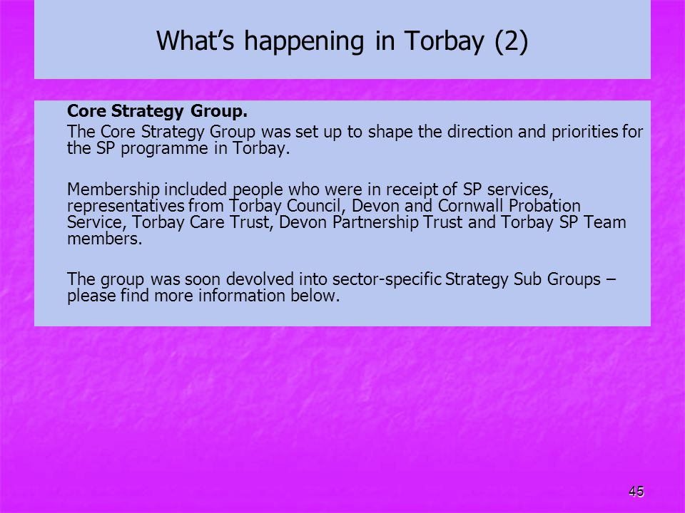 45 What's happening in Torbay (2) Core Strategy Group. The Core Strategy Group was set up to shape the direction and priorities for the SP programme i
