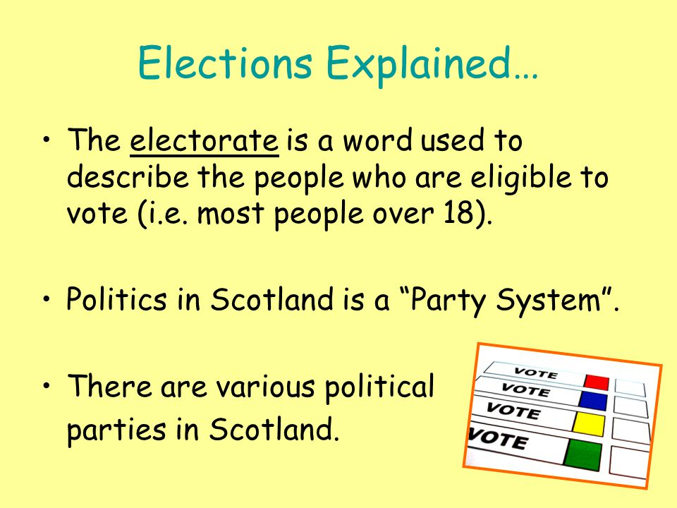 Elections Explained… The electorate is a word used to describe the people who are eligible to vote (i.e.
