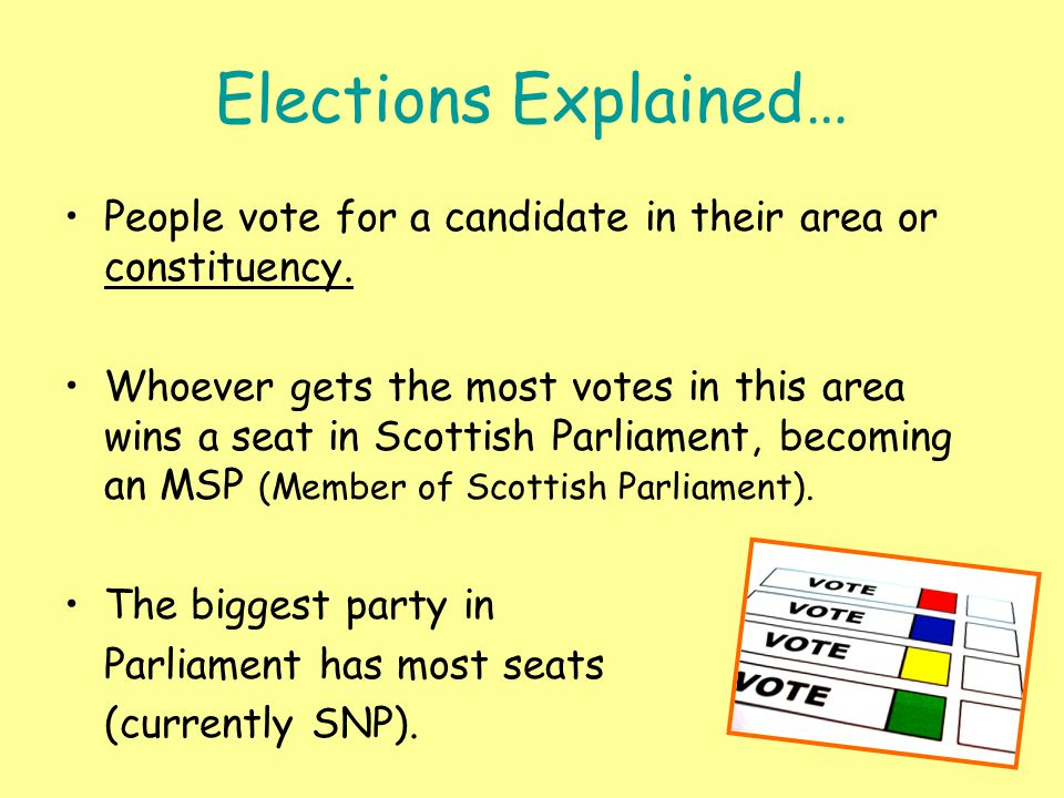 Elections Explained… People vote for a candidate in their area or constituency. Whoever gets the most votes in this area wins a seat in Scottish Parli
