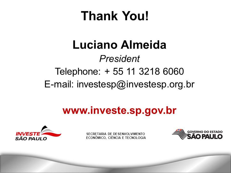 SECRETARIA DE DESENVOLVIMENTO ECONÔMICO, CIÊNCIA E TECNOLOGIA Thank You.
