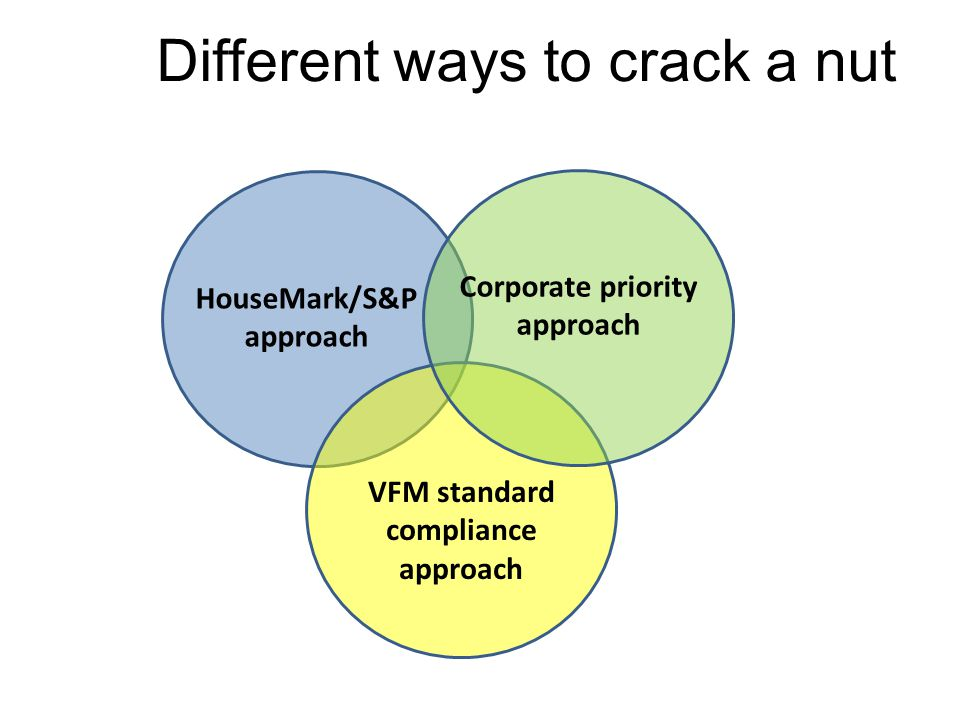 Different ways to crack a nut HouseMark/S&P approach VFM standard compliance approach Corporate priority approach