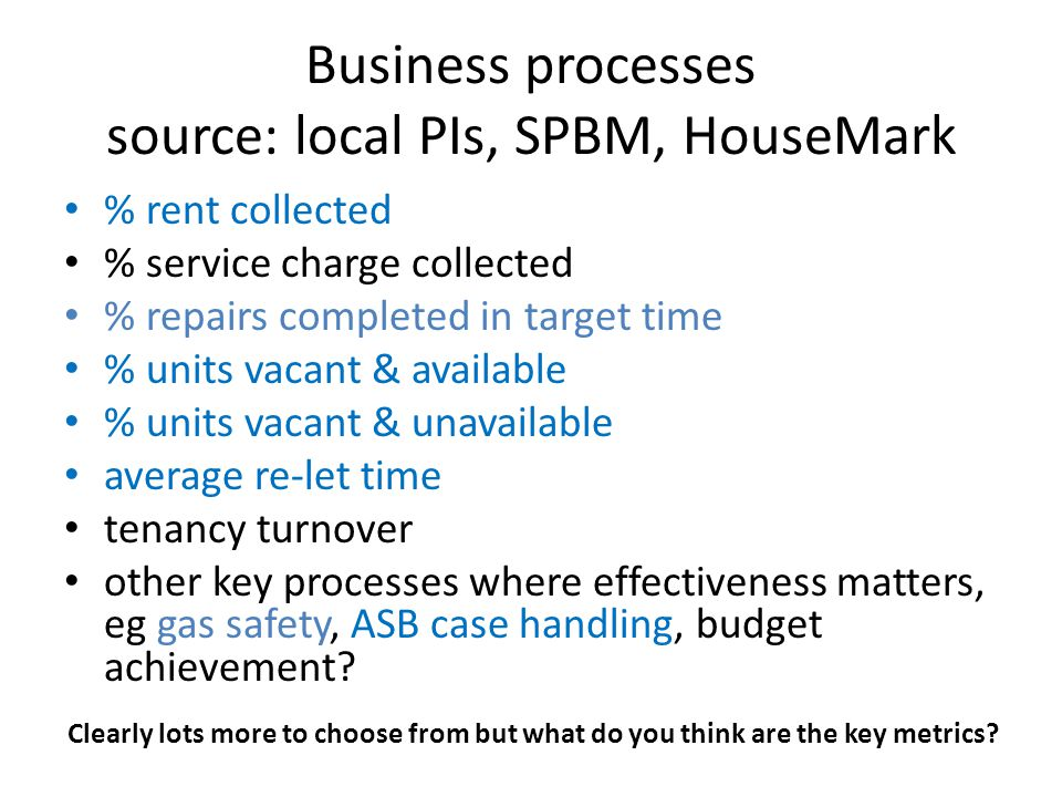 Business processes source: local PIs, SPBM, HouseMark % rent collected % service charge collected % repairs completed in target time % units vacant & available % units vacant & unavailable average re-let time tenancy turnover other key processes where effectiveness matters, eg gas safety, ASB case handling, budget achievement.
