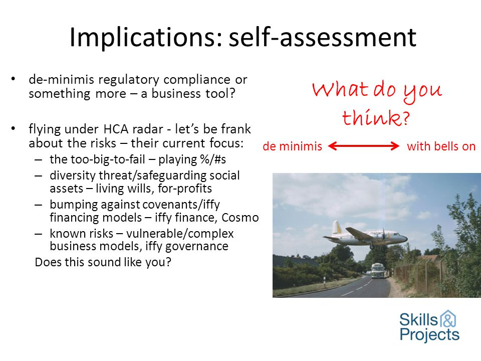 Implications: self-assessment de-minimis regulatory compliance or something more – a business tool.