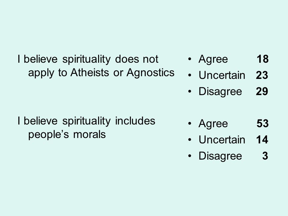 I believe spirituality does not apply to Atheists or Agnostics I believe spirituality includes people's morals Agree 18 Uncertain 23 Disagree 29 Agree 53 Uncertain 14 Disagree 3