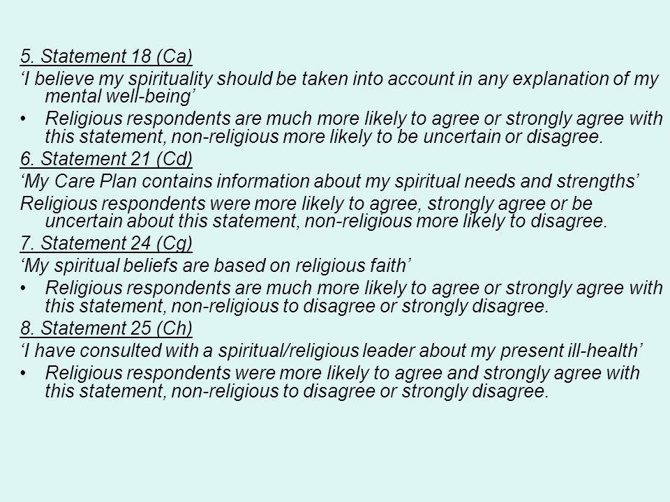 5. Statement 18 (Ca) 'I believe my spirituality should be taken into account in any explanation of my mental well-being' Religious respondents are muc
