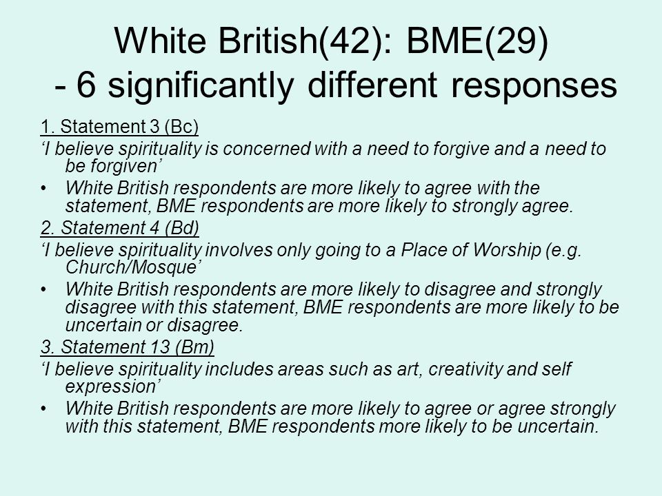 White British(42): BME(29) - 6 significantly different responses 1.