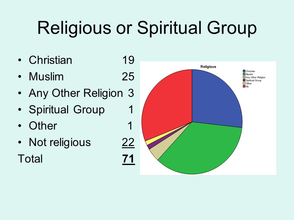 Religious or Spiritual Group Christian 19 Muslim 25 Any Other Religion 3 Spiritual Group 1 Other 1 Not religious 22 Total 71