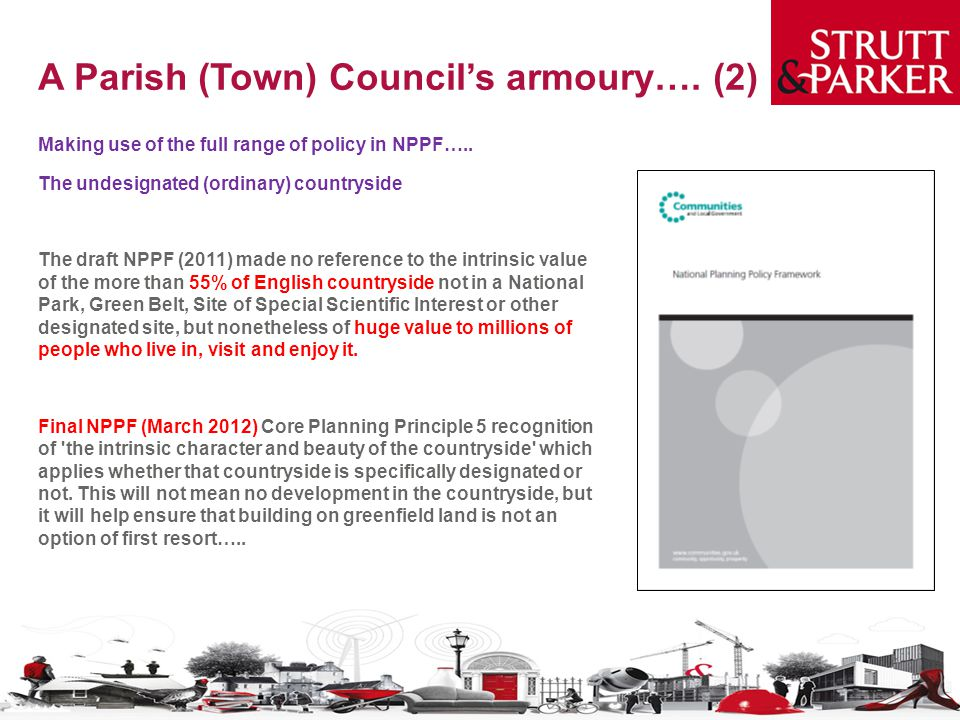 A Parish (Town) Council's armoury….(2) Making use of the full range of policy in NPPF…..