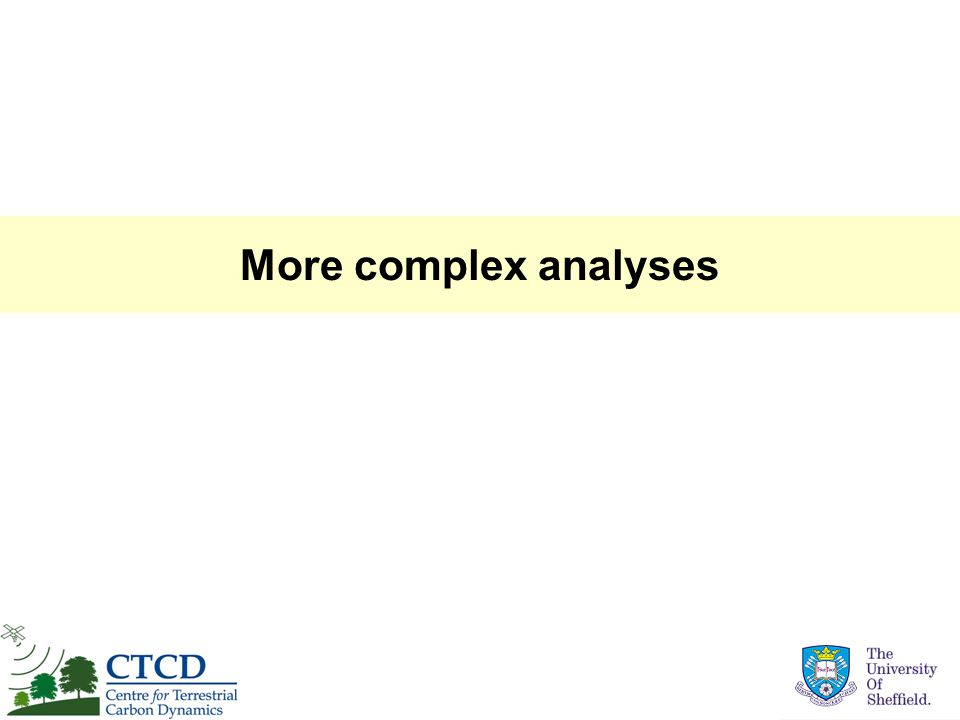 More complex analyses