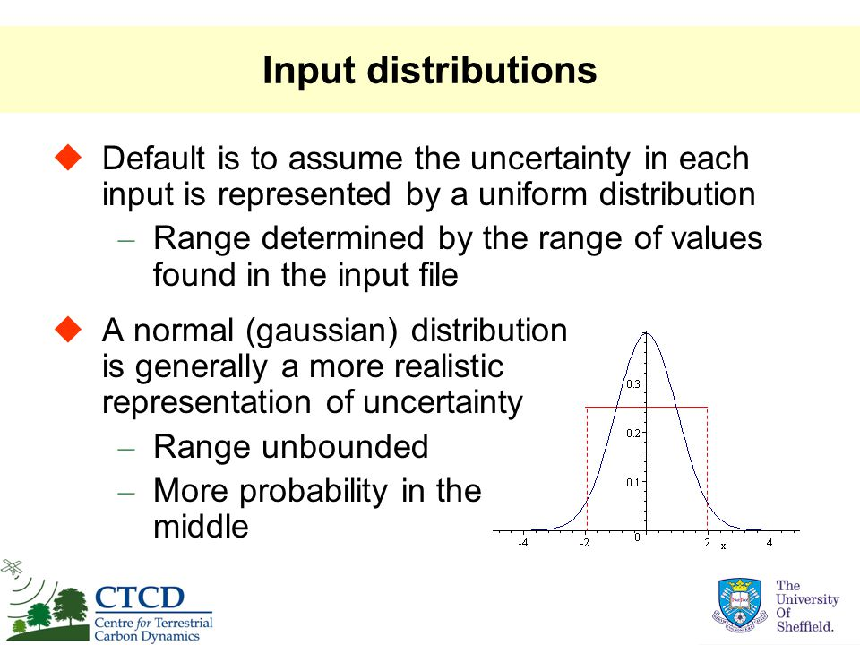 Input distributions  A normal (gaussian) distribution is generally a more realistic representation of uncertainty – Range unbounded – More probability in the middle  Default is to assume the uncertainty in each input is represented by a uniform distribution – Range determined by the range of values found in the input file
