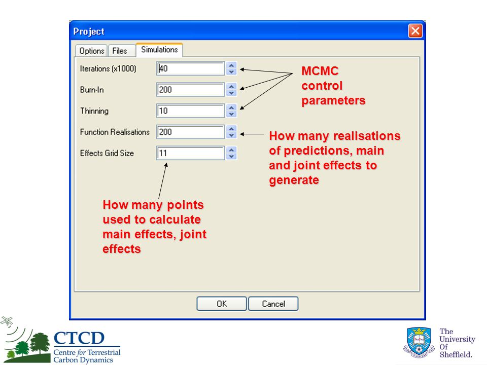 MCMC control parameters How many points used to calculate main effects, joint effects How many realisations of predictions, main and joint effects to generate