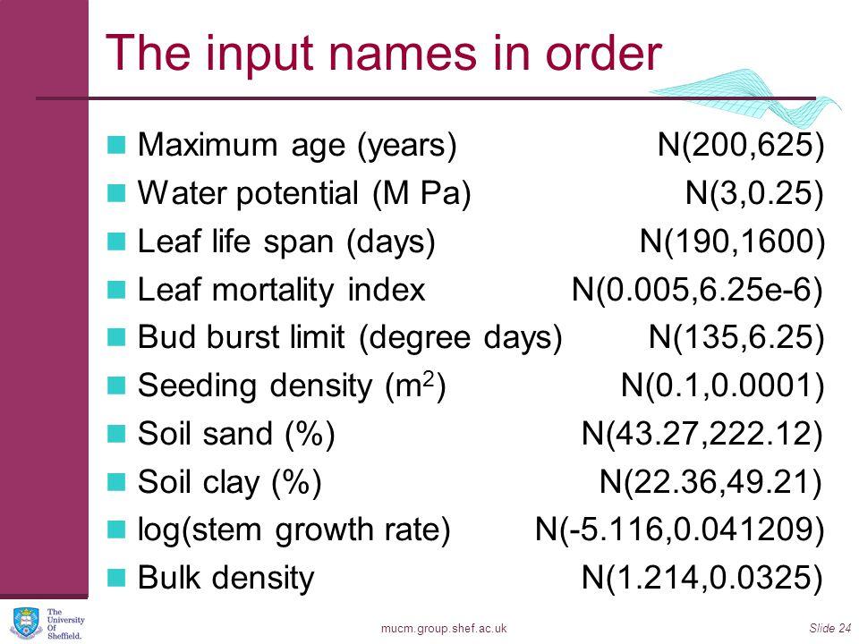 mucm.group.shef.ac.ukSlide 24 The input names in order Maximum age (years) N(200,625) Water potential (M Pa) N(3,0.25) Leaf life span (days) N(190,1600) Leaf mortality index N(0.005,6.25e-6) Bud burst limit (degree days) N(135,6.25) Seeding density (m 2 ) N(0.1,0.0001) Soil sand (%) N(43.27,222.12) Soil clay (%) N(22.36,49.21) log(stem growth rate) N(-5.116,0.041209) Bulk density N(1.214,0.0325)