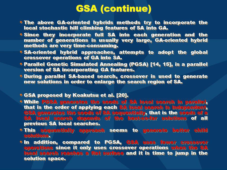 GSA (continue) The above GA-oriented hybrids methods try to incorporate the local stochastic hill climbing features of SA into GA. The above GA-orient