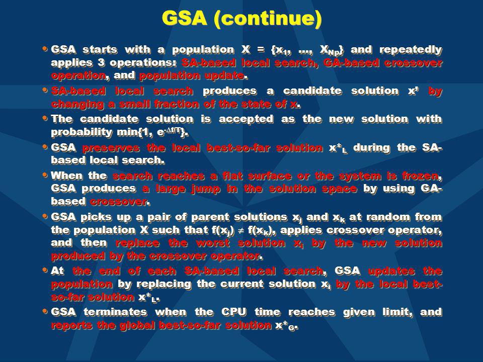 GSA (continue) GSA starts with a population X = {x 1, …, X Np } and repeatedly applies 3 operations: SA-based local search, GA-based crossover operati