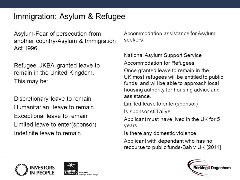 Immigration: Asylum & Refugee Asylum-Fear of persecution from another country-Asylum & Immigration Act 1996.