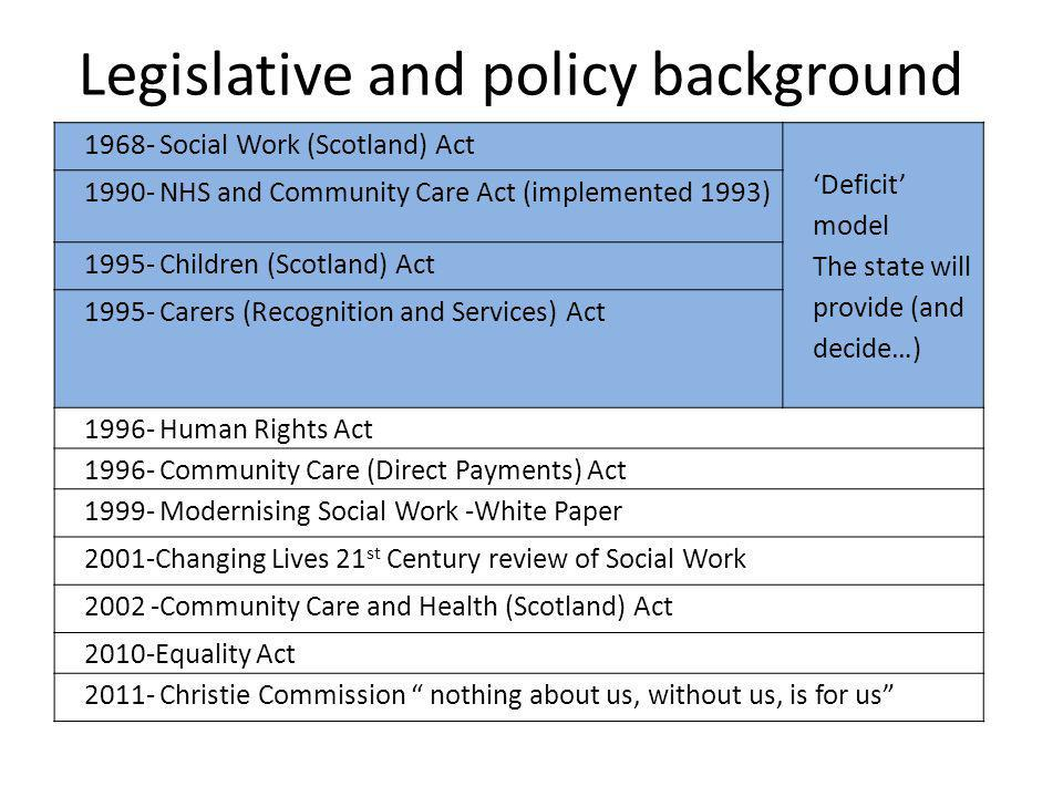 Legislative and policy background 1968- Social Work (Scotland) Act 'Deficit' model The state will provide (and decide…) 1990- NHS and Community Care Act (implemented 1993) 1995- Children (Scotland) Act 1995- Carers (Recognition and Services) Act 1996- Human Rights Act 1996- Community Care (Direct Payments) Act 1999- Modernising Social Work -White Paper 2001-Changing Lives 21 st Century review of Social Work 2002 -Community Care and Health (Scotland) Act 2010-Equality Act 2011- Christie Commission nothing about us, without us, is for us