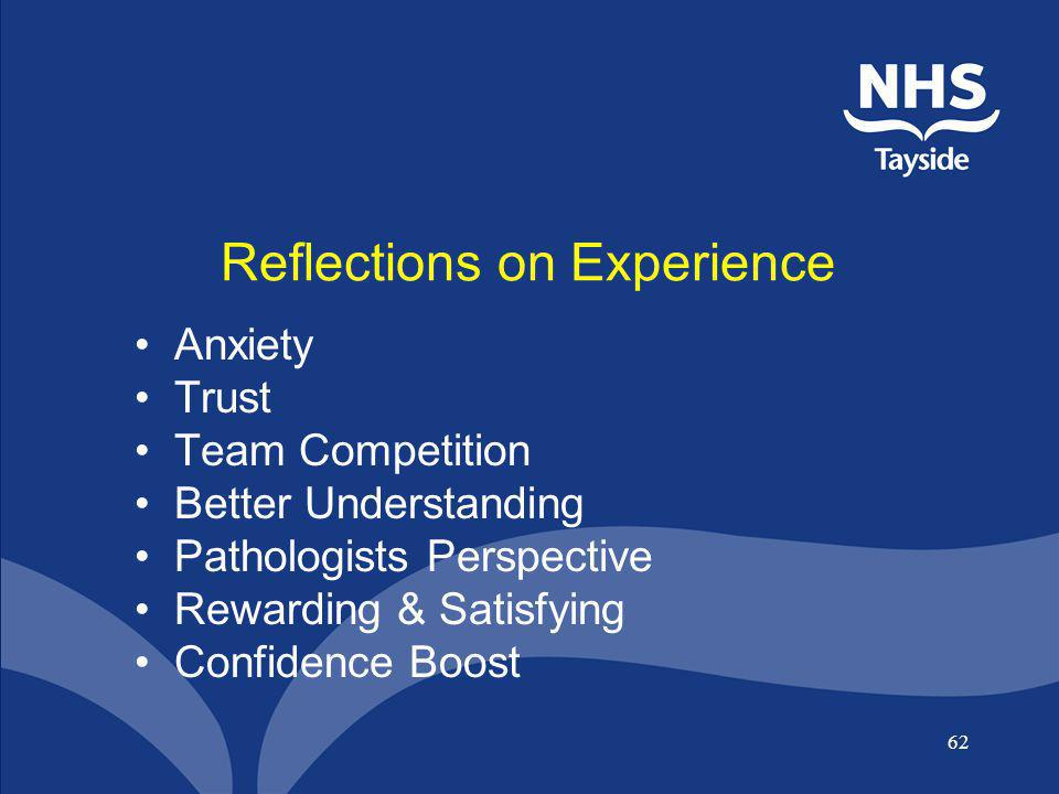 62 Reflections on Experience Anxiety Trust Team Competition Better Understanding Pathologists Perspective Rewarding & Satisfying Confidence Boost