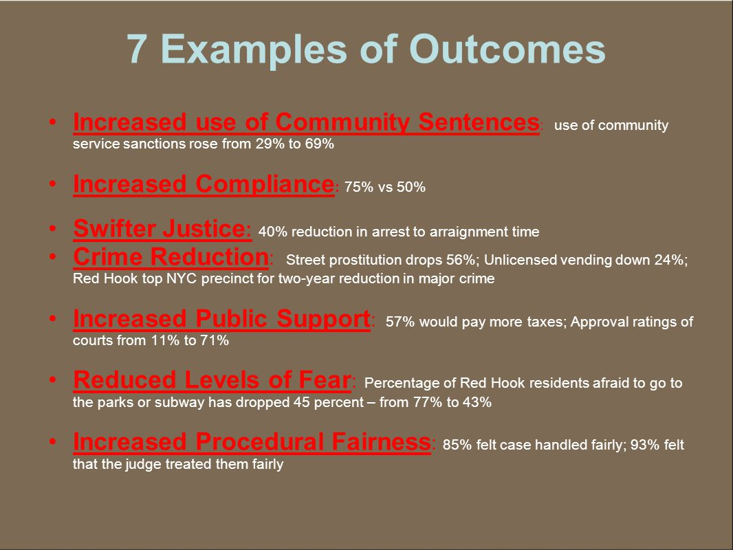 7 Examples of Outcomes Increased use of Community Sentences : use of community service sanctions rose from 29% to 69% Increased Compliance : 75% vs 50% Swifter Justice : 40% reduction in arrest to arraignment time Crime Reduction : Street prostitution drops 56%; Unlicensed vending down 24%; Red Hook top NYC precinct for two-year reduction in major crime Increased Public Support : 57% would pay more taxes; Approval ratings of courts from 11% to 71% Reduced Levels of Fear : Percentage of Red Hook residents afraid to go to the parks or subway has dropped 45 percent – from 77% to 43% Increased Procedural Fairness : 85% felt case handled fairly; 93% felt that the judge treated them fairly