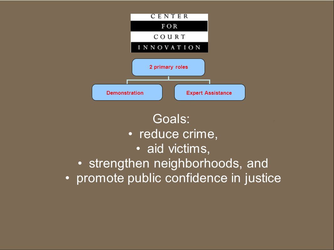 2 primary roles DemonstrationExpert Assistance Goals: reduce crime, aid victims, strengthen neighborhoods, and promote public confidence in justice