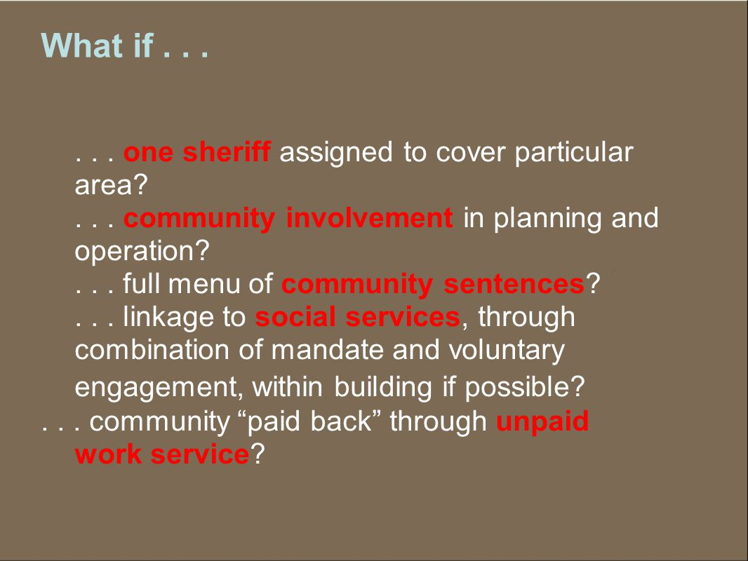 Community Involvement Needs assessment Advisory board Court-sponsored public forums/ meetings Volunteer opportunities Identification of sites for unpaid work Community impact panels On-going community outreach Community surveys Mediation Community access to services