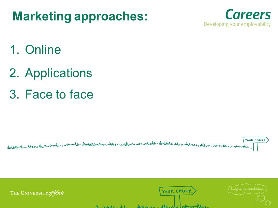 Marketing approaches: 1.Online 2.Applications 3.Face to face