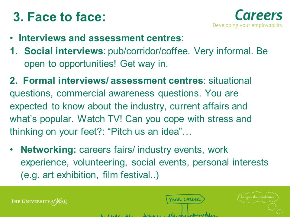 3. Face to face: Interviews and assessment centres: 1.Social interviews: pub/corridor/coffee.