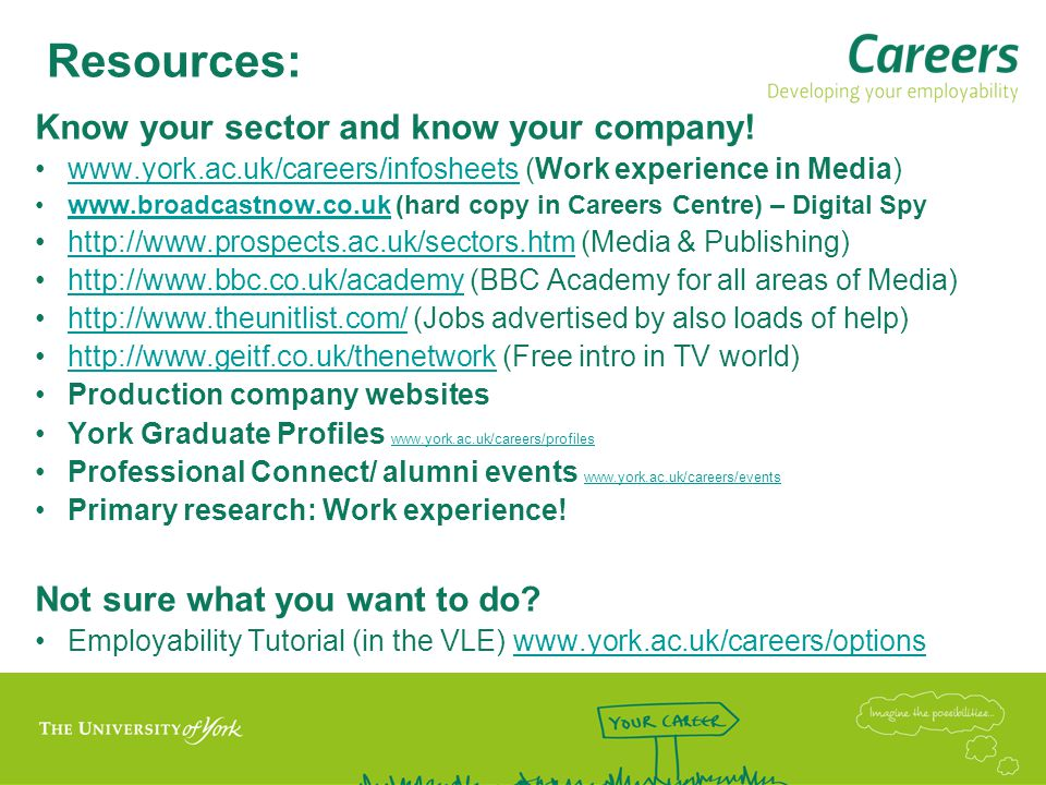 Resources: Know your sector and know your company.