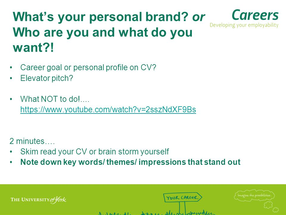 What's your personal brand. or Who are you and what do you want .