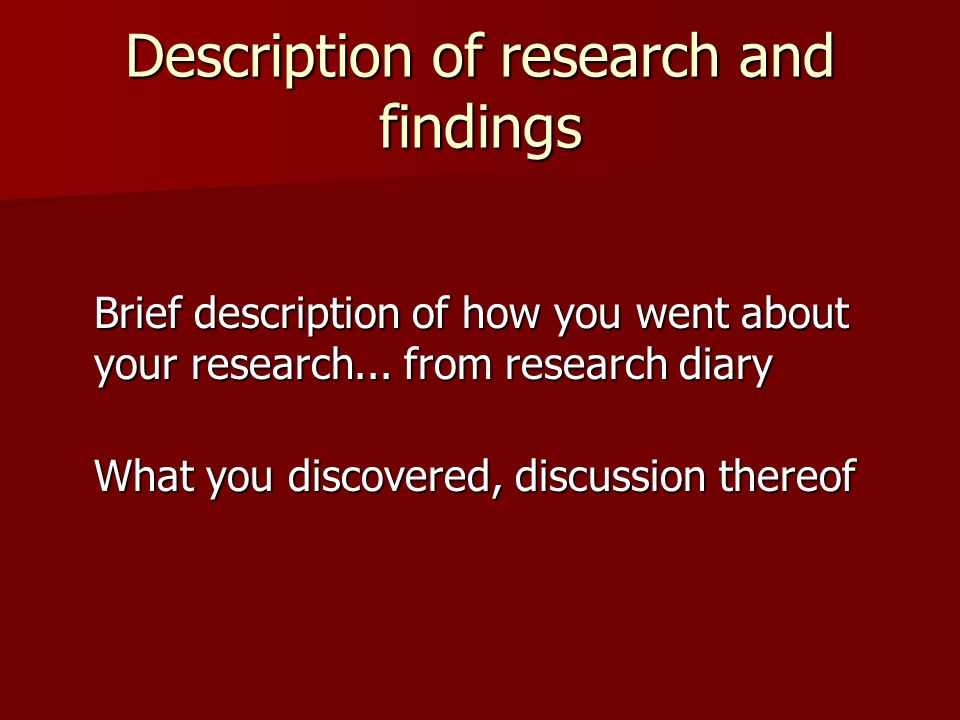 Description of research and findings Brief description of how you went about your research...