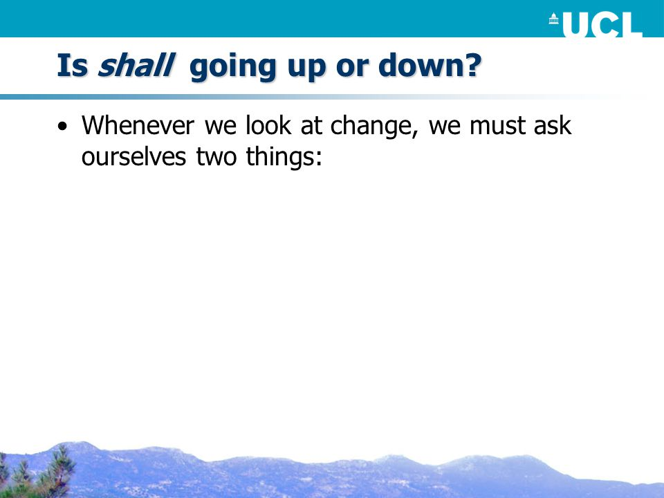 Is shall going up or down Whenever we look at change, we must ask ourselves two things: