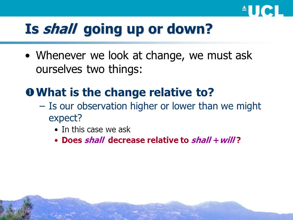 Is shall going up or down.
