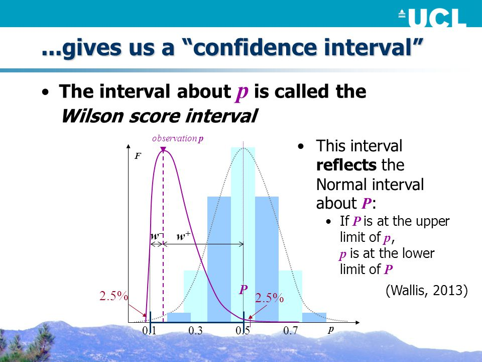 ...gives us a confidence interval The interval about p is called the Wilson score interval This interval reflects the Normal interval about P : If P is at the upper limit of p, p is at the lower limit of P (Wallis, 2013) F P 2.5% p w+w+ observation p w–w– 0.50.30.10.7