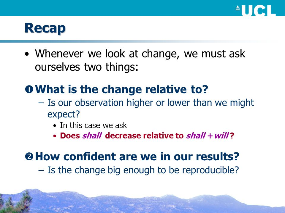 Recap Whenever we look at change, we must ask ourselves two things:  What is the change relative to.