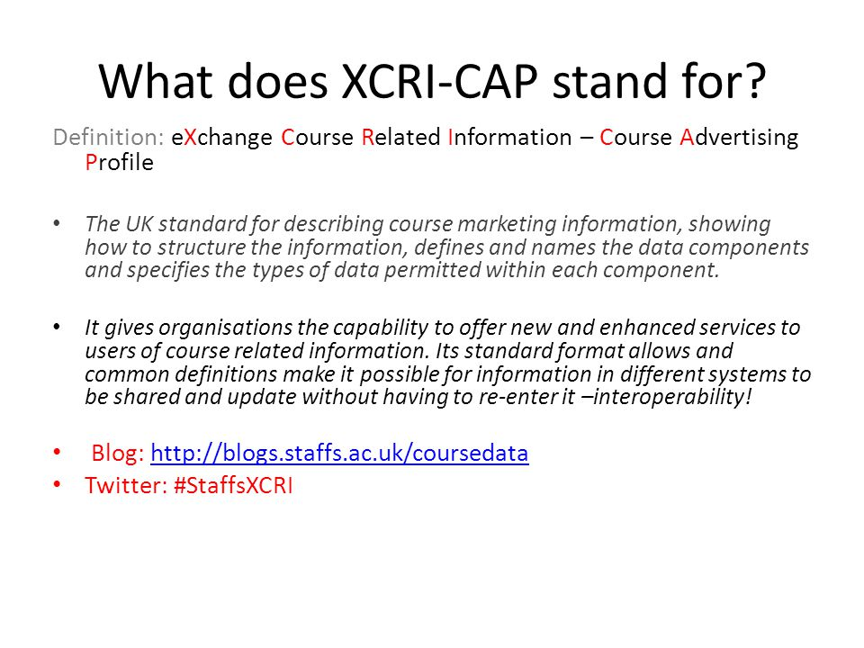 What does XCRI-CAP stand for.