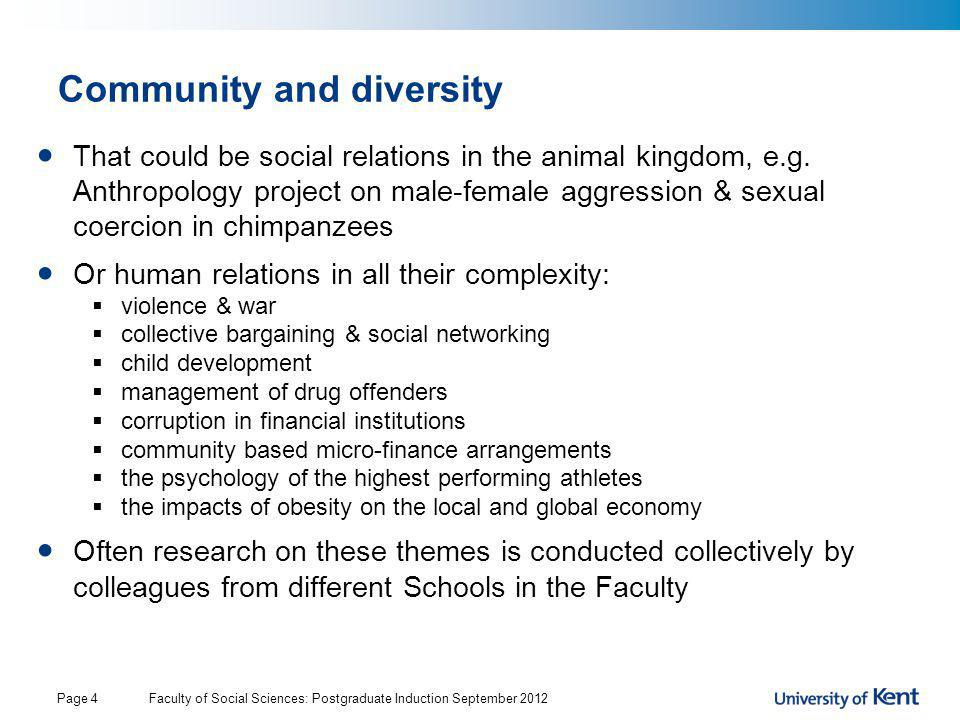 Community and diversity That could be social relations in the animal kingdom, e.g. Anthropology project on male-female aggression & sexual coercion in