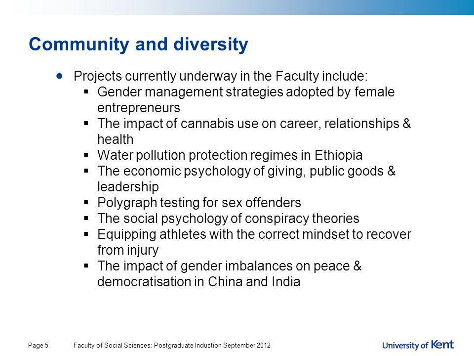 Community and diversity Projects currently underway in the Faculty include:  Gender management strategies adopted by female entrepreneurs  The impac