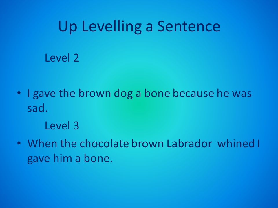 Up Levelling a Sentence Level 2 I gave the brown dog a bone because he was sad. Level 3 When the chocolate brown Labrador whined I gave him a bone.