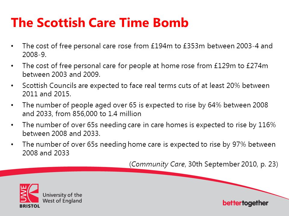 The Scottish Care Time Bomb The cost of free personal care rose from £194m to £353m between 2003-4 and 2008-9.