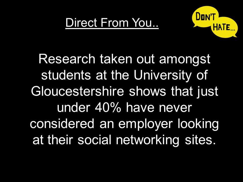 Research taken out amongst students at the University of Gloucestershire shows that just under 40% have never considered an employer looking at their