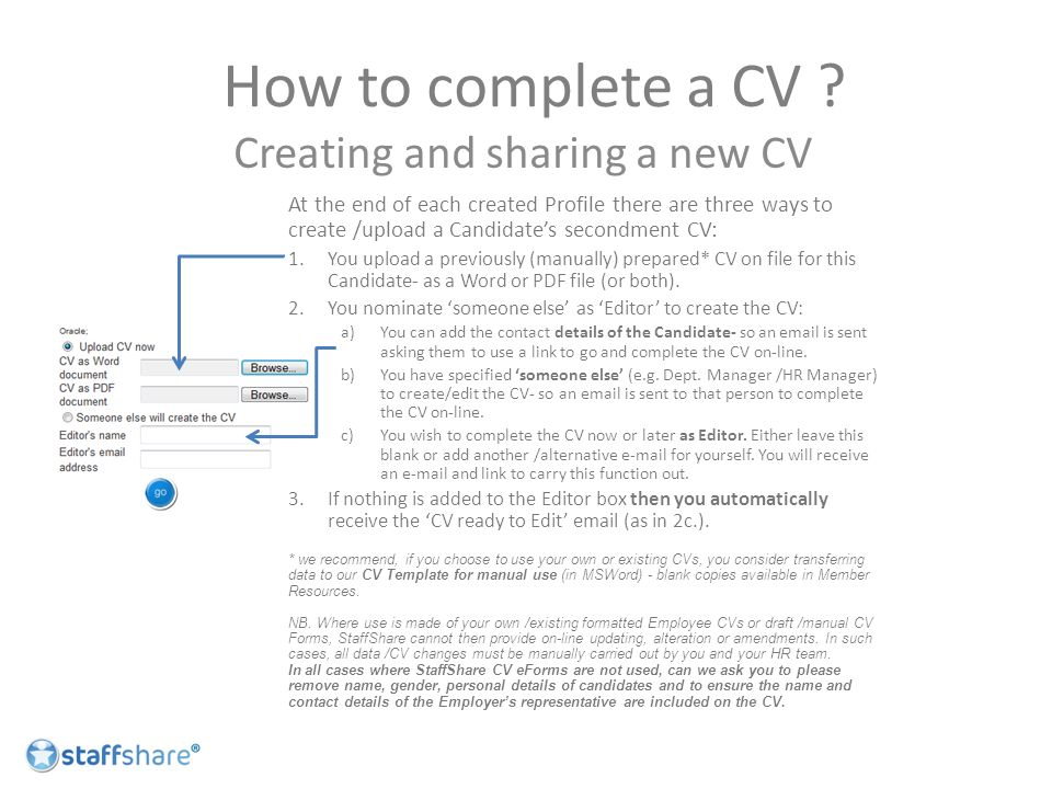 How to complete a CV .