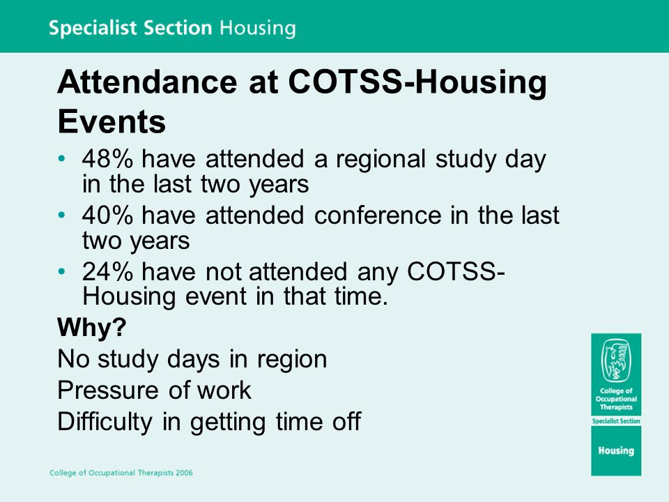 Attendance at COTSS-Housing Events 48% have attended a regional study day in the last two years 40% have attended conference in the last two years 24%
