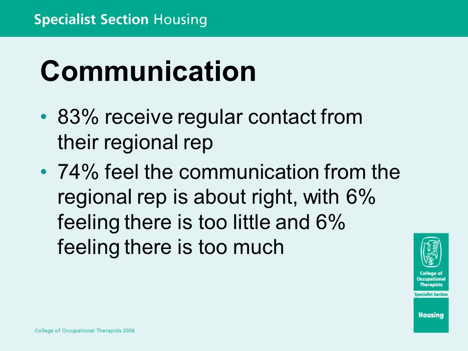 Communication 83% receive regular contact from their regional rep 74% feel the communication from the regional rep is about right, with 6% feeling the