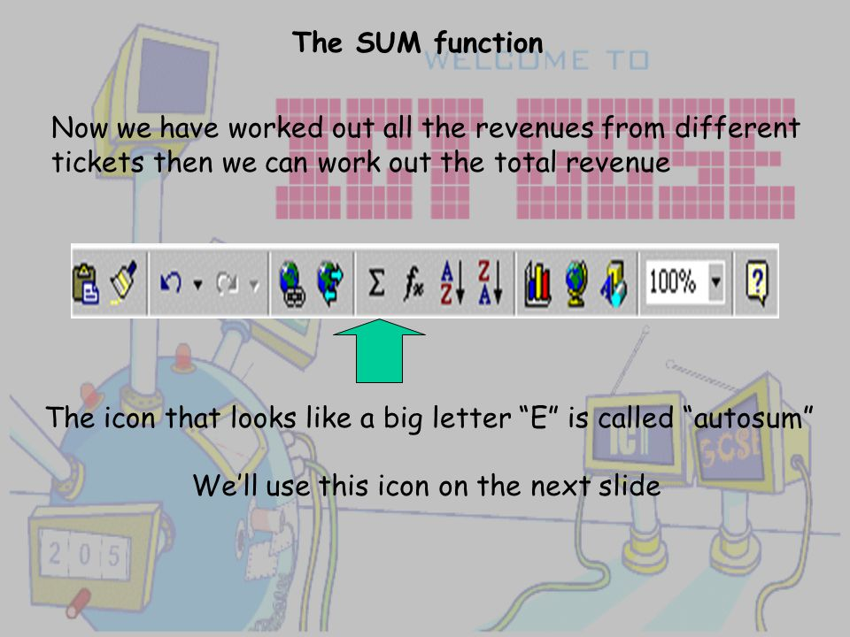 The SUM function Now we have worked out all the revenues from different tickets then we can work out the total revenue The icon that looks like a big letter E is called autosum We'll use this icon on the next slide