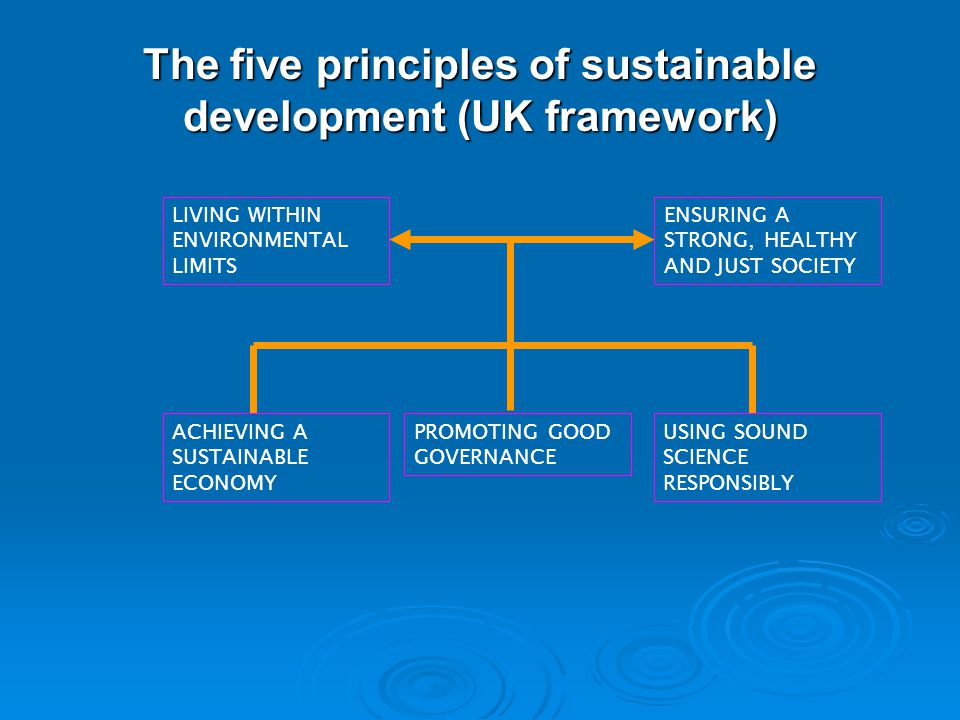 4 The five principles of sustainable development (UK framework) LIVING WITHIN ENVIRONMENTAL LIMITS ENSURING A STRONG, HEALTHY AND JUST SOCIETY ACHIEVI