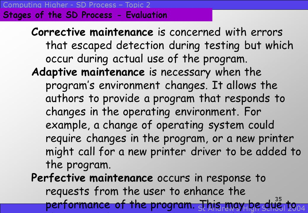 Computing Higher - SD Process – Topic 2 St Andrew's High School 2004 34 Stages of the SD Process - Evaluation Corrective maintenance is concerned with