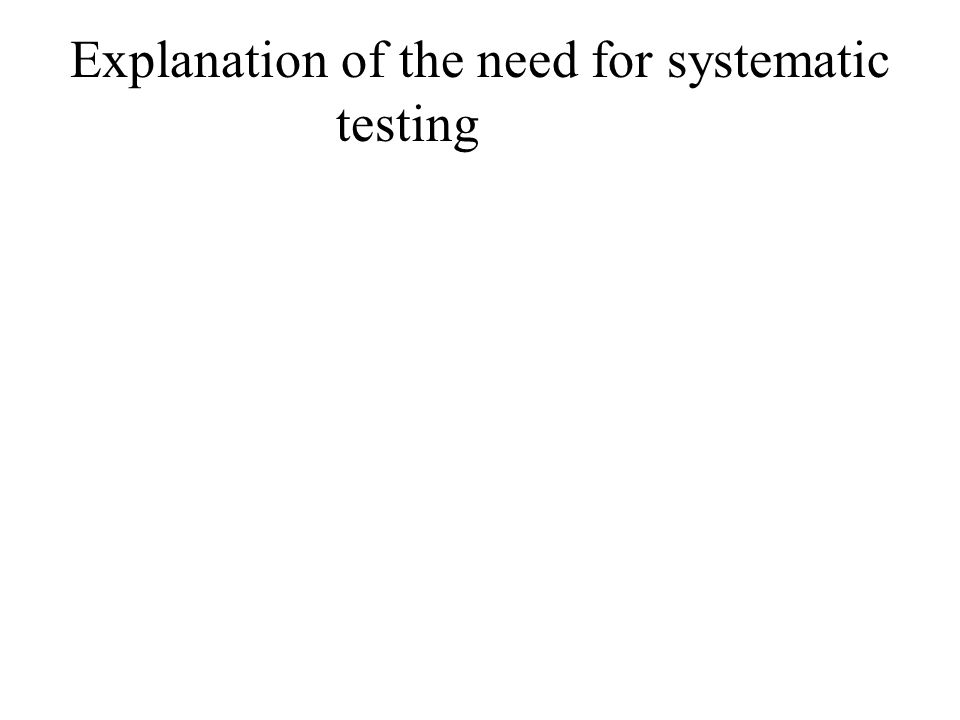 Explanation of the need for systematic testing