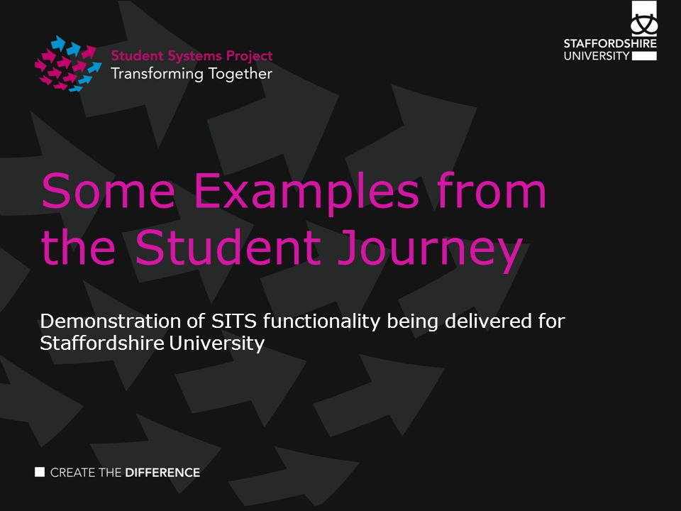 Some Examples from the Student Journey Demonstration of SITS functionality being delivered for Staffordshire University