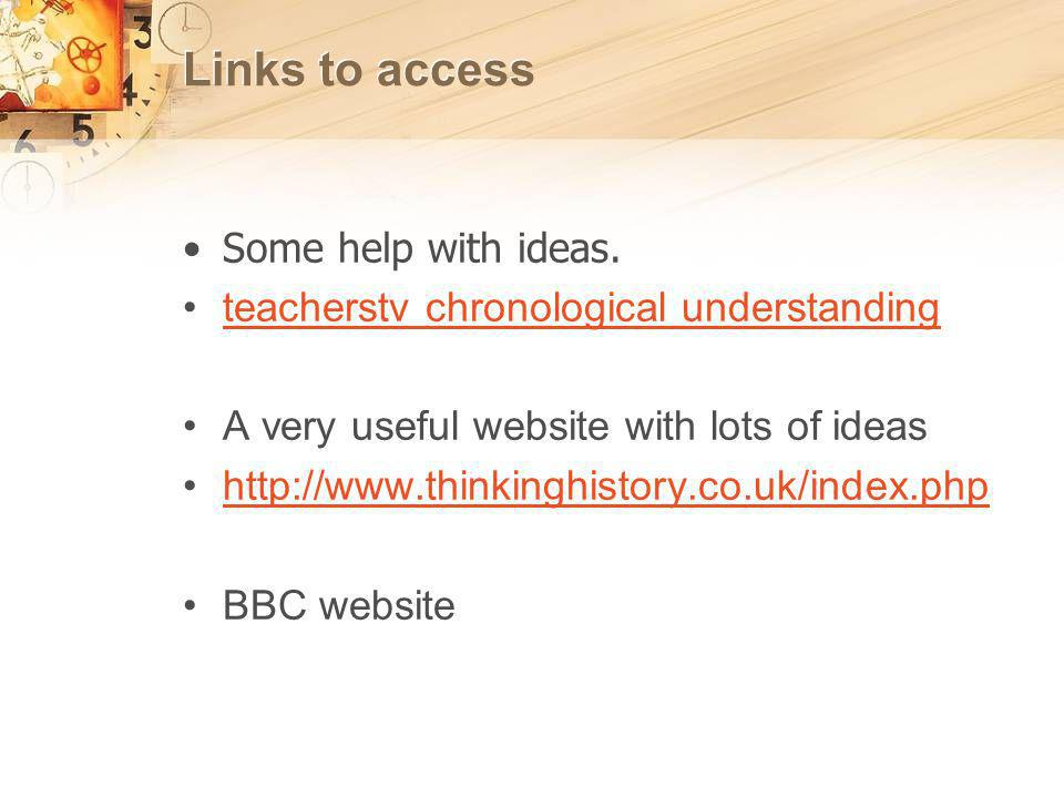 Links to access Some help with ideas.