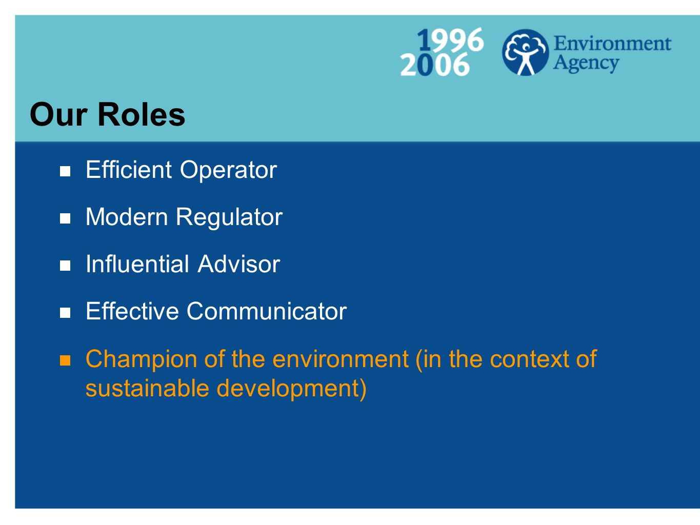  Efficient Operator  Modern Regulator  Influential Advisor  Effective Communicator  Champion of the environment (in the context of sustainable development) Our Roles