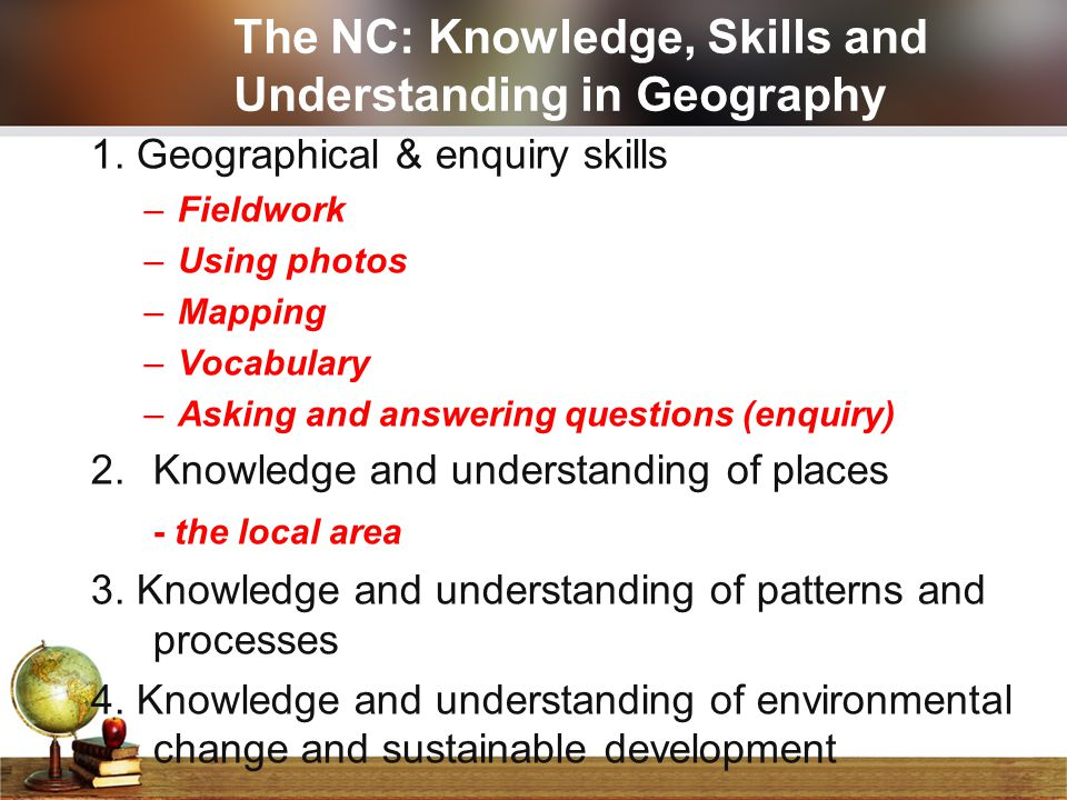 The NC: Knowledge, Skills and Understanding in Geography 1. Geographical & enquiry skills –Fieldwork –Using photos –Mapping –Vocabulary –Asking and an